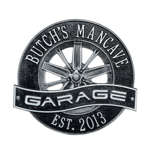 Racing Wheel Garage Plaque Standard Wall Two Line