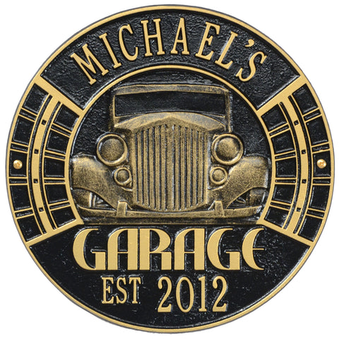 Vintage Car Garage Plaque Standard Wall Two Line