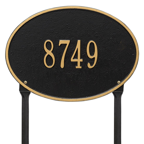 Hawthorne Oval Standard Lawn Address Plaque One Line