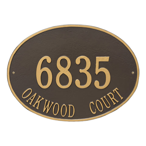 Hawthorne Oval Estate Wall Address Plaque Two Line