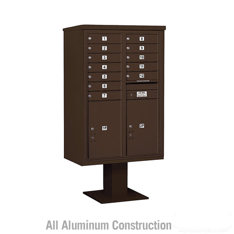 4C Pedestal Mailbox 13 Door High Unit Double Column