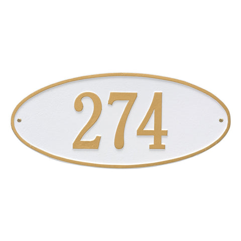 Madison Oval Standard Wall Address Plaque One Line