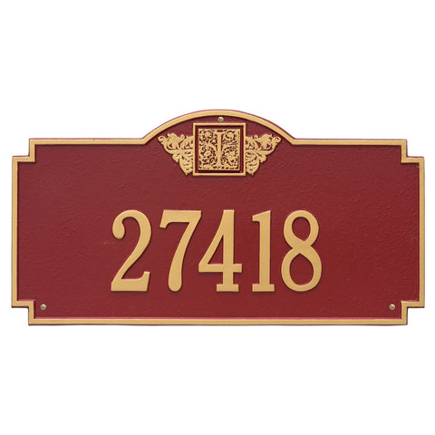 Monogram Estate Wall Address Plaque One Line