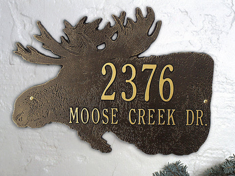 Moose Silhouette Plaque Standard Wall Two Line