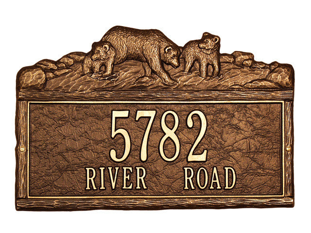 Woodland Bears Plaque Standard Wall Two Line - Advantage Mailboxes ...