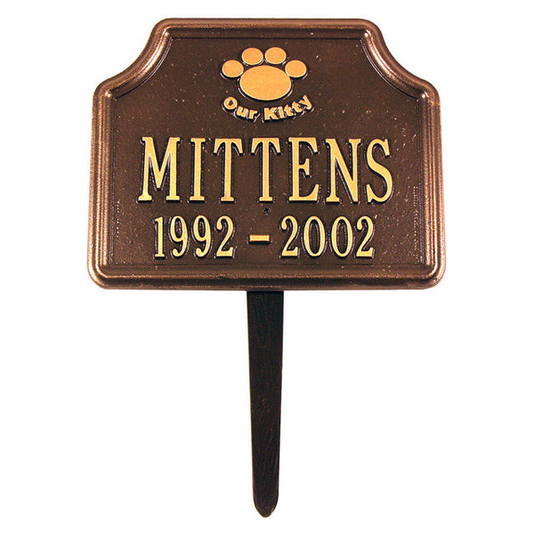 """Our Kitty""Cat Paw Memorial Lawn Marker Two Line"