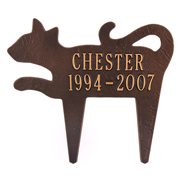 Silhouette Cat Memorial Marker Two Line