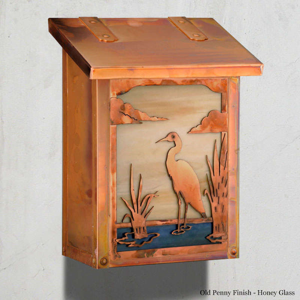 Blue Heron Wall Mounted Mailbox - Vertical