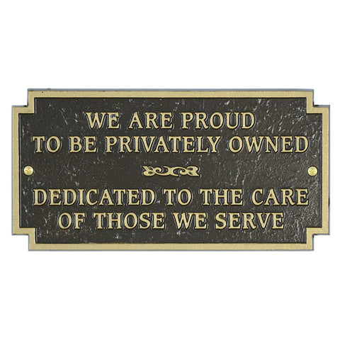 Private Owned Plaque