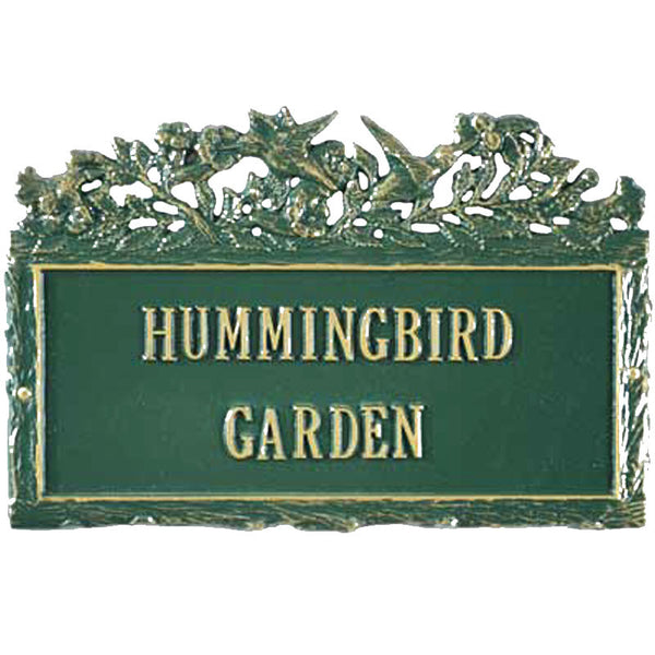 Cemetery Signage Woodland Humingbird Plaque Wall Mount