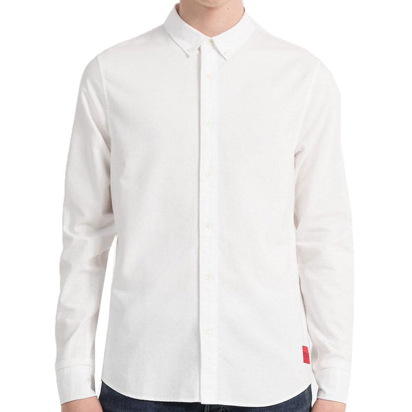 Calvin Klein Jeans Mens Slim Oxford Cotton Shirt - White - so-ldn