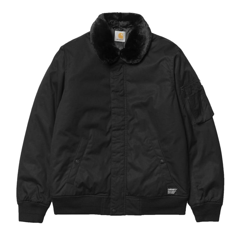 Carhartt Stanley Bomber Jacket With Removable Faux Fur Collar - Black - so-ldn