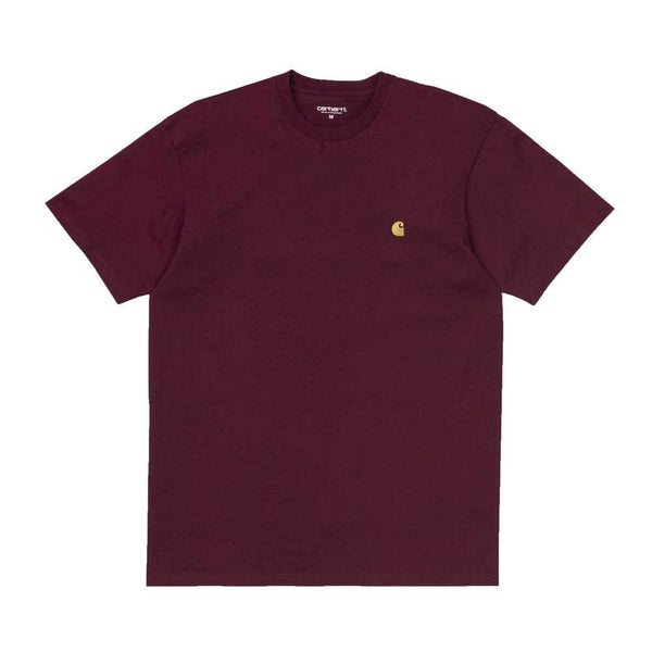 Carhartt Chase T-Shirt - Cranberry / Gold - so-ldn