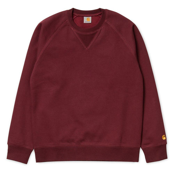 Carhartt WIP Chase Sweatshirt Jumper - Burgundy Cranberry / Gold - so-ldn