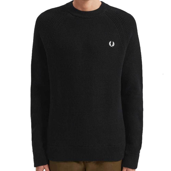 Fred Perry Ribbed Crew Neck Jumper - Black K7516