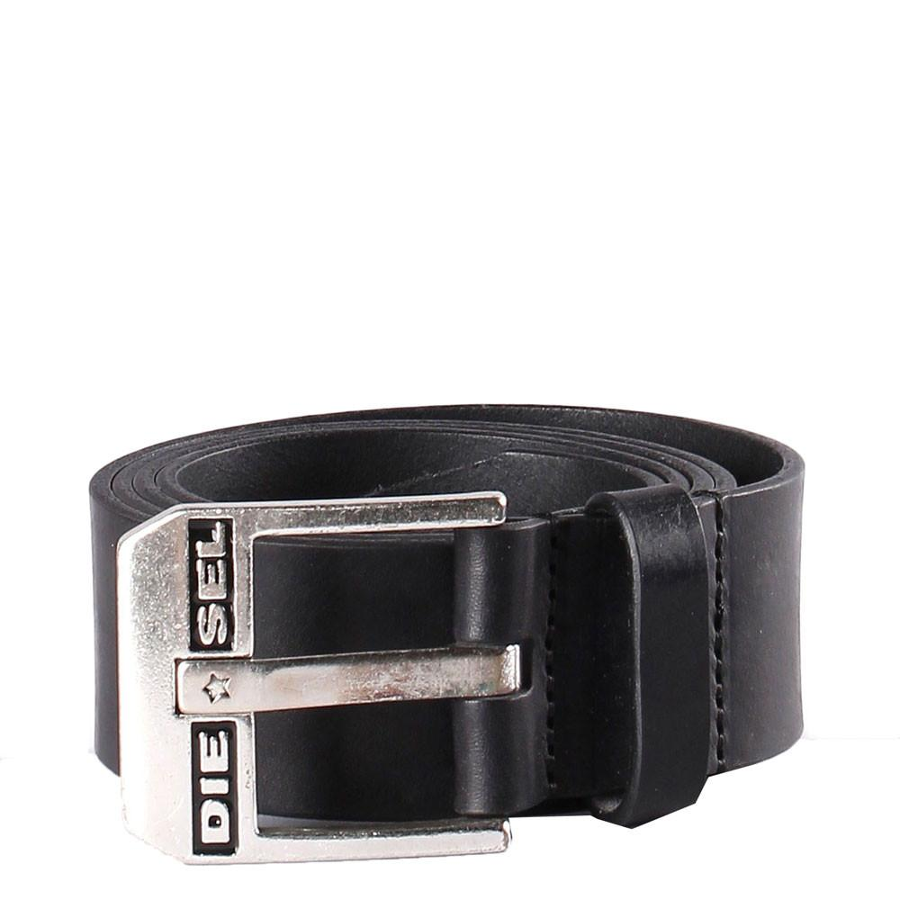 Diesel Blue-Star Leather Regular Fit Belt - Black/Sliver - so-ldn