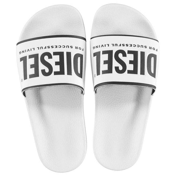 Diesel SA-Valla Slides Sandals - White - so-ldn