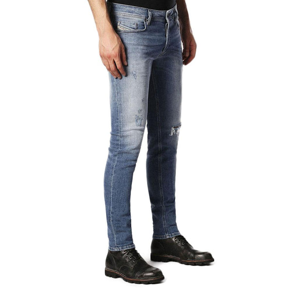b25fceb2 Diesel Sleenker 084GL Distressed Skinny Jeans - Light Blue