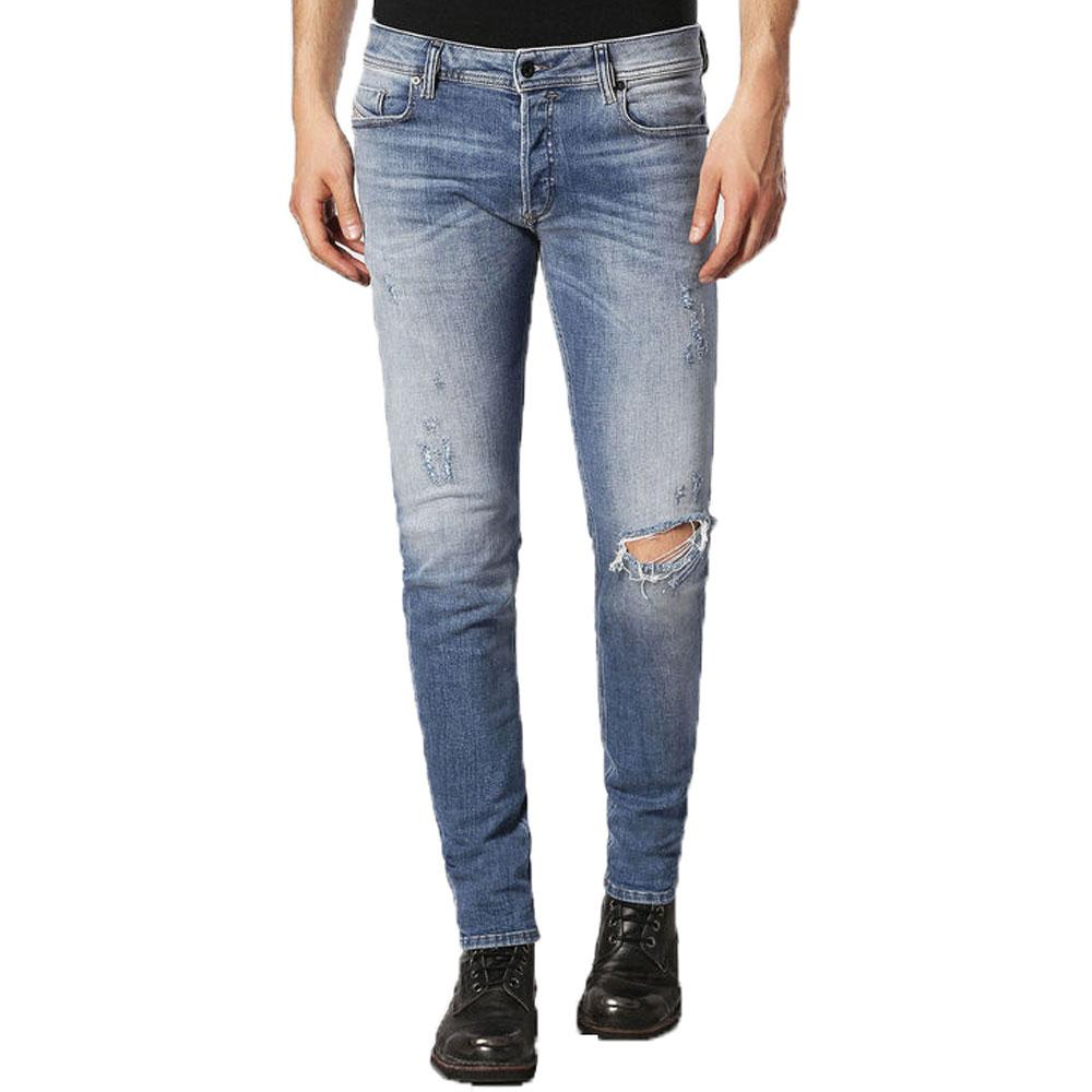 Diesel Sleenker 084GL Distressed Skinny Jeans - Light Blue - so-ldn