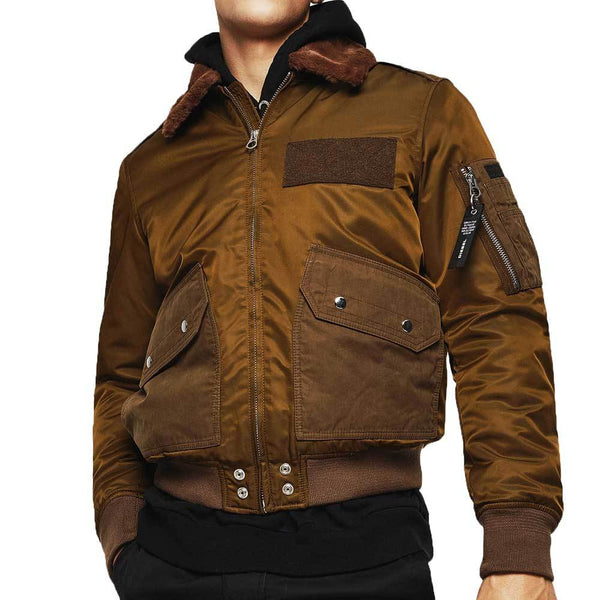 Diesel W-Slotkin-A Jacket  Flight Bomber Jacket - Green / Brown