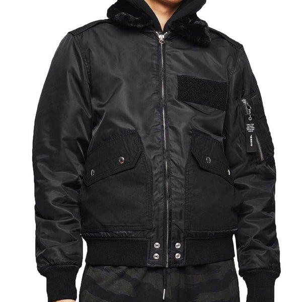 Diesel W-Slotkin-A Jacket Black Flight Bomber Jacket