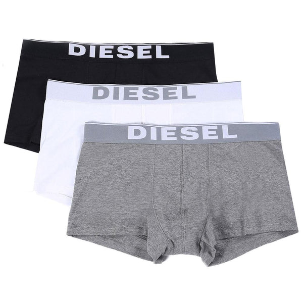 Diesel White/Black/Grey Kory 3 Pack Boxer Trunks - so-ldn
