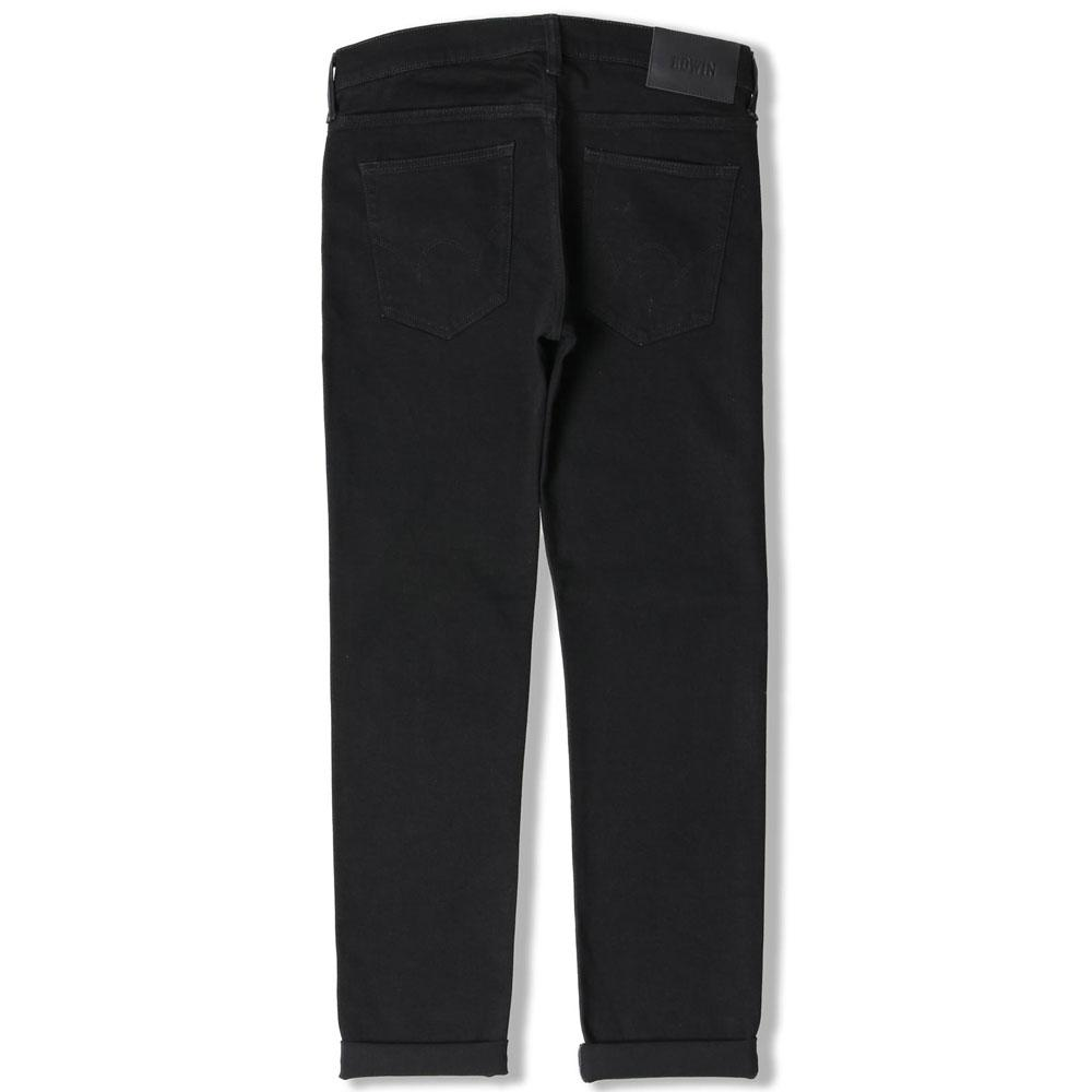 Edwin ED 80 Slim Tapered Jeans CS White Listed Black Selvage Stretch Denim Rinsed