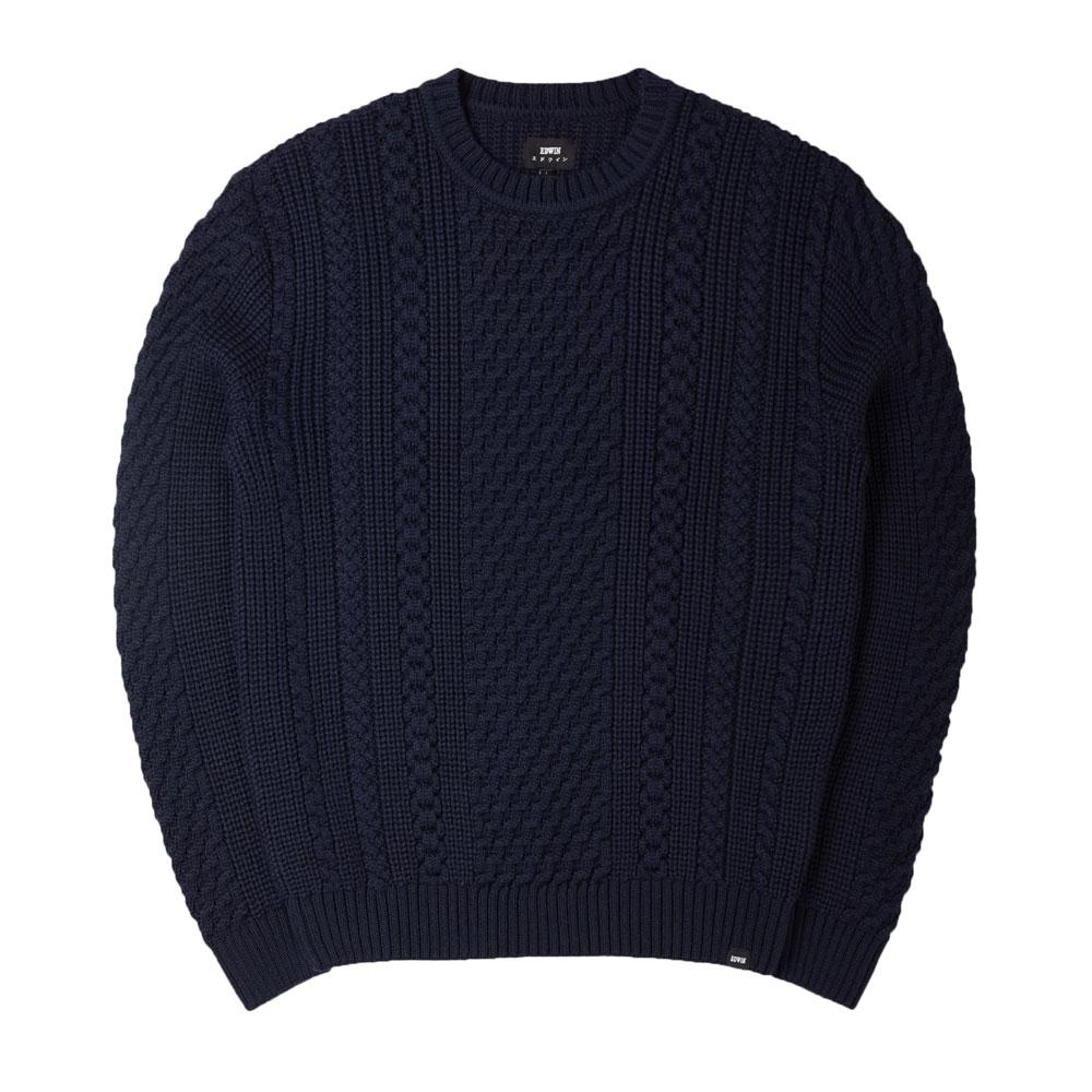 Edwin United Cable Knit Jumper - Navy - so-ldn
