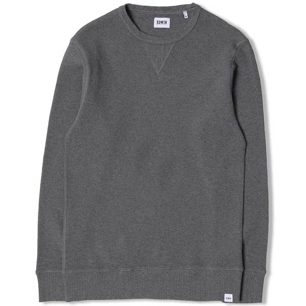 Edwin Waffle Long Sleeve T-Shirt - Dark Grey Heather - so-ldn