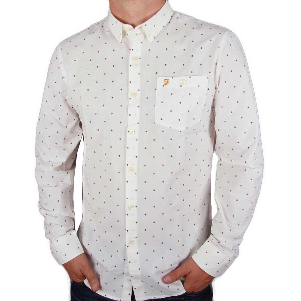 Farah Albyn Slim Fit Long Sleeve Shirt - Off White / Wine - so-ldn