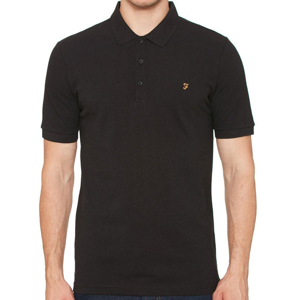 Farah Blaney Short Sleeve Polo Shirt - Black - so-ldn