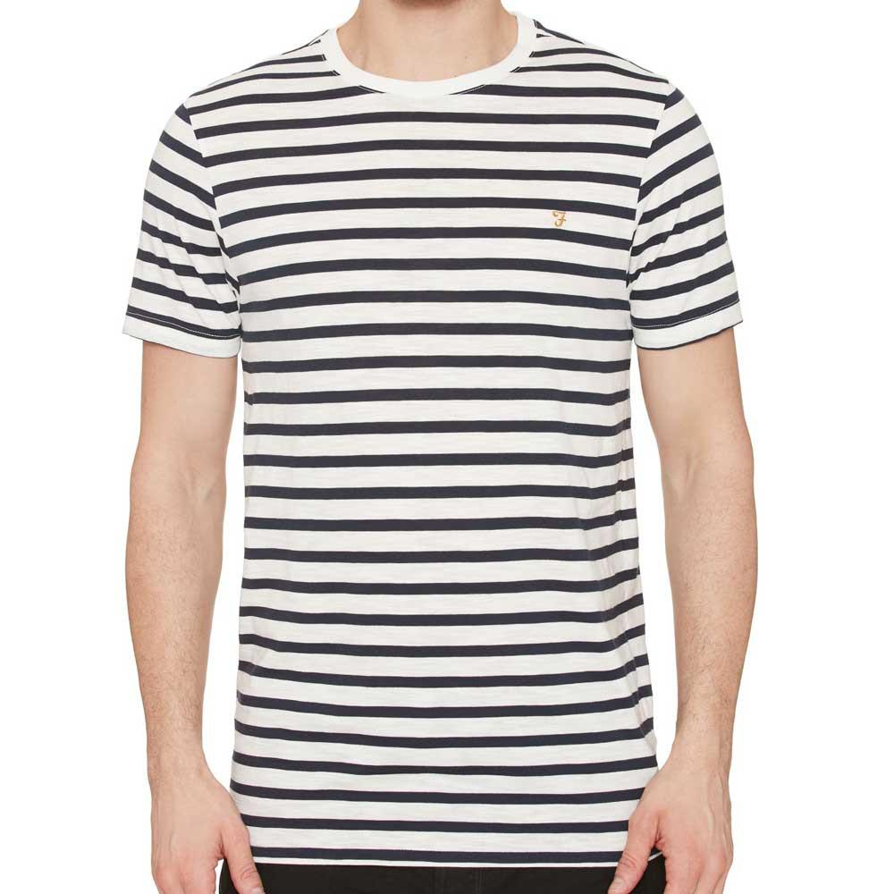 Farah Lennox Striped Logo T-Shirt Navy - so-ldn