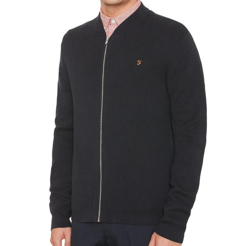 Farah Usher Milano Bomber Zip Knit - Navy - so-ldn