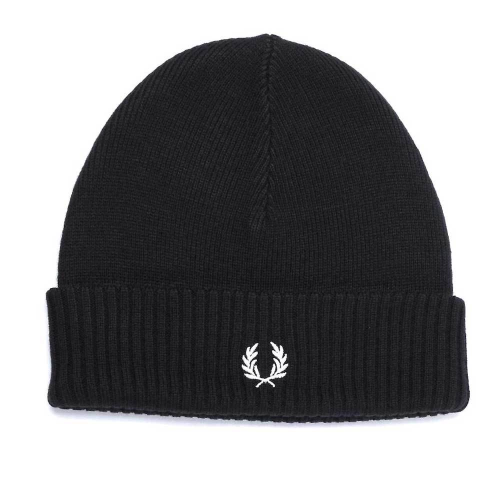 Fred Perry Roll Up Beanie Hat - Black C7142
