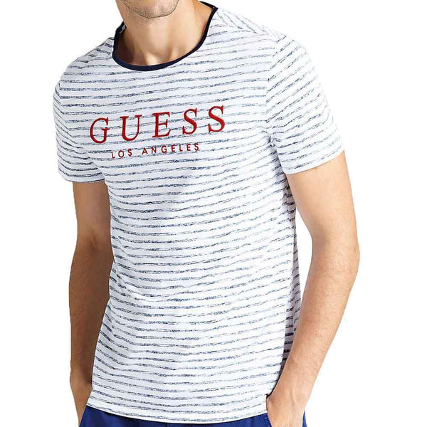 GUESS Striped Alden T-Shirt - White / Blue - so-ldn