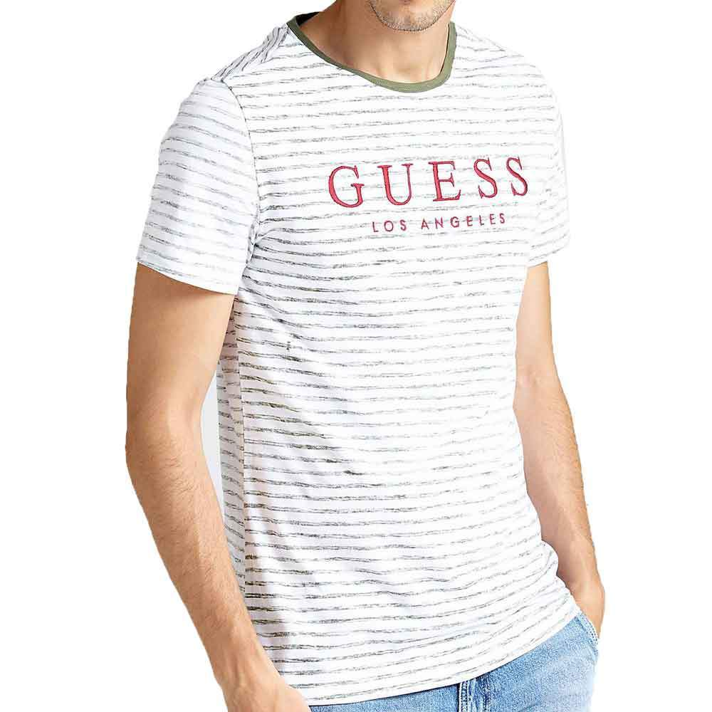 GUESS Striped Alden T-Shirt - White / Green - so-ldn