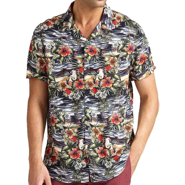 Guess Hawaian Floral Print Short Sleeve Shirt - Black - so-ldn