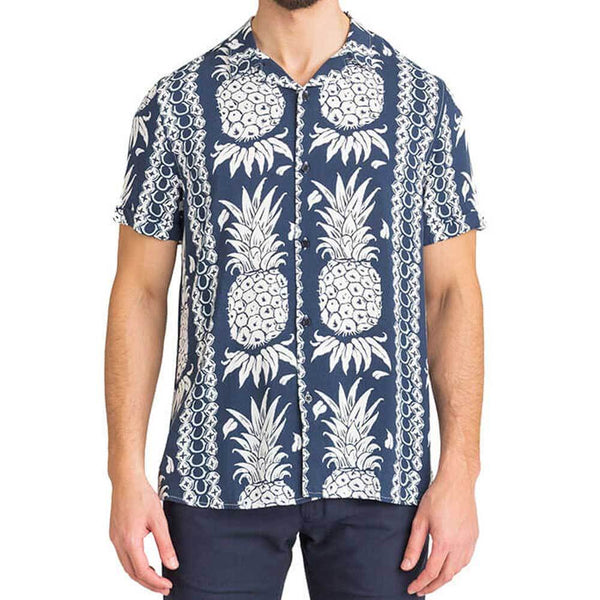Guess Mens Hawaiian Print Short Sleeve Shirt -  Blue - so-ldn