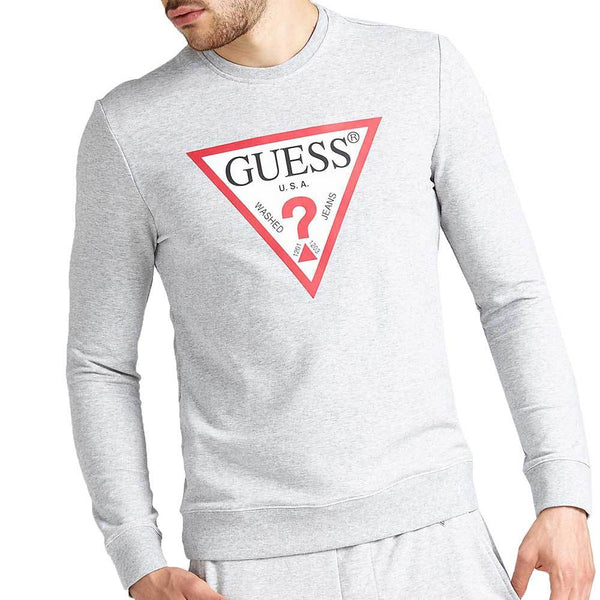 Guess Jared Logo Crew Neck Sweatshirt - Light Grey - so-ldn
