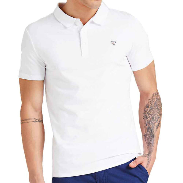 Guess Men's Duane Small Logo Polo Shirt - White - so-ldn