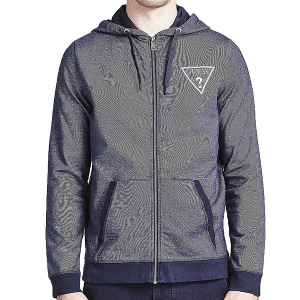 Guess Mens Hooded Zip Sweatshirt - Blue - so-ldn