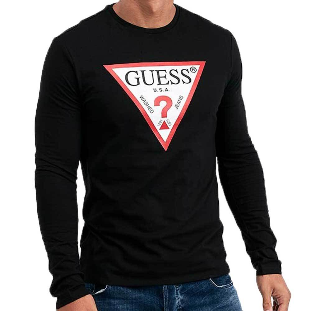 Guess Men's Original Long Sleeve Logo T-Shirt - Black
