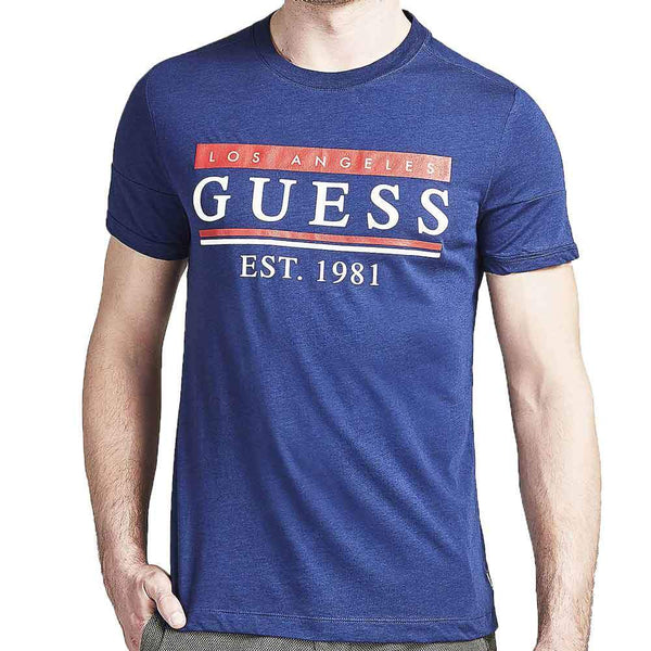 Guess Mens 81 Stripe T shirt - Blue - so-ldn
