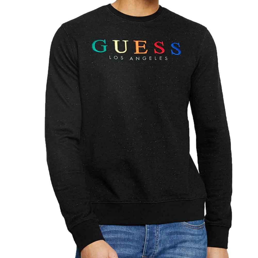 Guess Mens Jed Logo CrewNeck Sweatshirt - Black - so-ldn