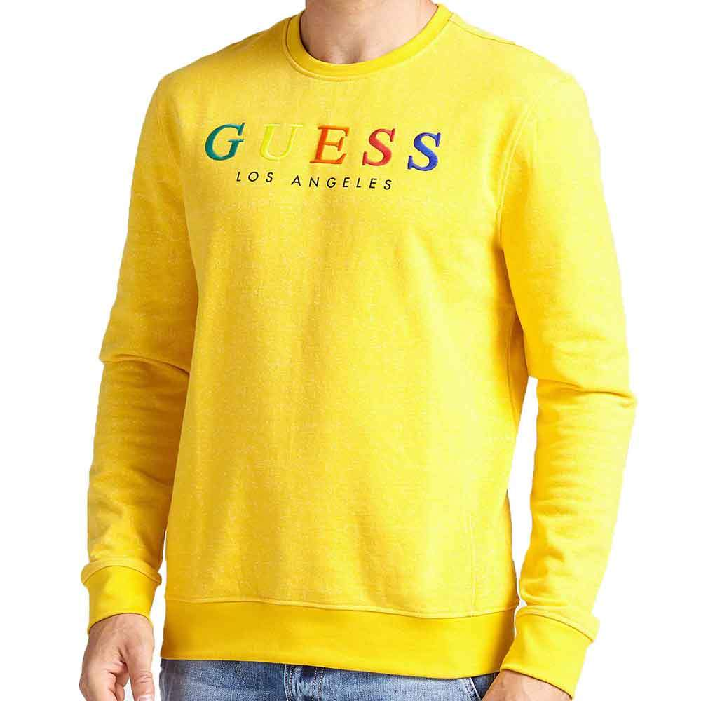 Guess Mens Jed Logo CrewNeck Sweatshirt - Yellow - so-ldn