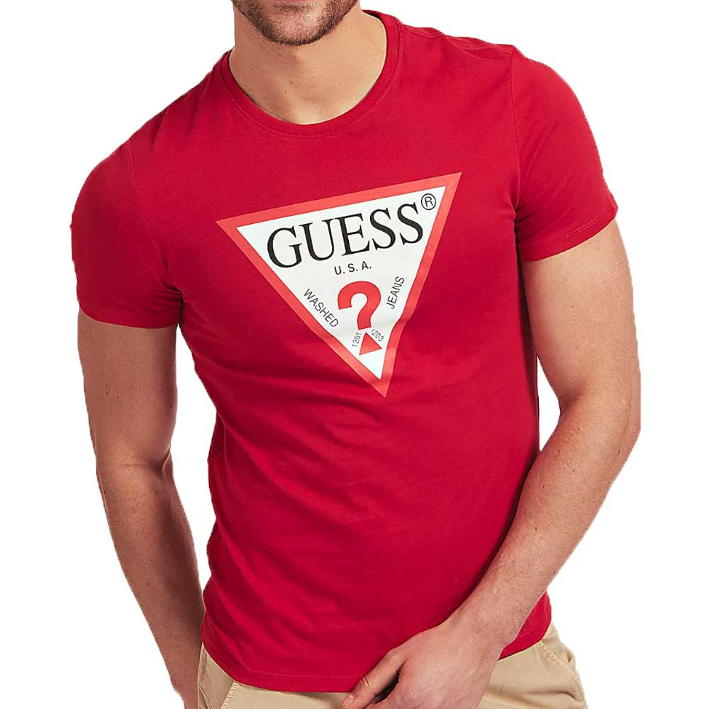 Guess Mens Original Logo Triangle T-Shirt - Red