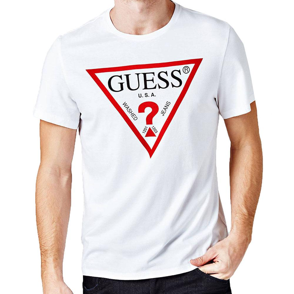 Guess Mens Original Logo Triangle T-Shirt - White - so-ldn