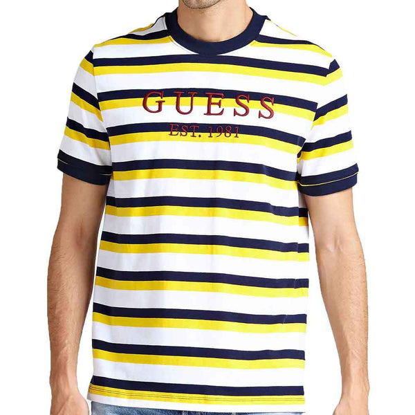 bbc0f6c3f Guess Rod Striped Crew Neck T-Shirt - White / Navy / Yellow