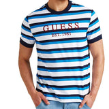 Guess Rod Striped Crew Neck T-Shirt - Navy Blue - so-ldn