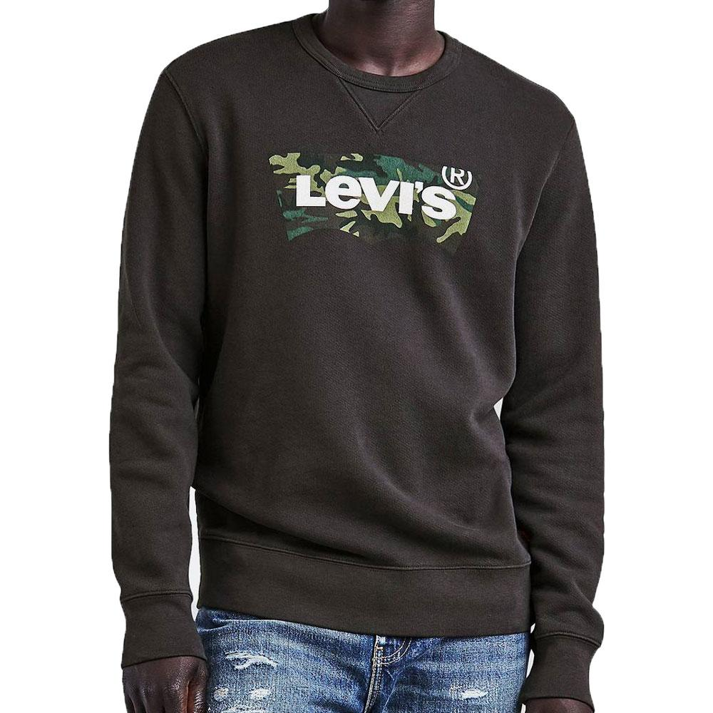 Levis Graphic Crew Neck Sweatshirt Black Camouflage Housemark